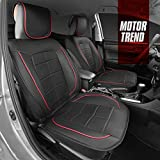 Motor Trend Premium Faux Leather Car Seat Covers for Front Seats – Modern Luxurious Style with Two-Tone Red Accents, Extra Thick Padding for Comfort, Universal Fit Design for Car Truck Van and SUV