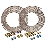 4LIFETIMELINES Copper-Nickel Brake Line Tubing Coil and Fitting Kits, 3/16 & 1/4, 25 ft, 2...