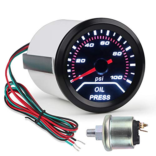 SCITOO 2 52mm Digital 0-100 PSI Oil Pressure with LED Electronic Universal Press Gauge Meter for Car Vehicle Automotive Oil Press Sensor