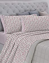 GEMITEX Juego de sábanas Fabricado en Italia de Franela de 100% algodón, para Cama de Matrimonio, línea Enjoy, diseño G11 Variante 03 Rosa, con Tratamiento antipilling