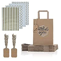 JCKBAGS Value pack Thank You Gift Bag 50 (10.5 x 8 x 4.5) Qty, 80 gold themed gift wrap paper