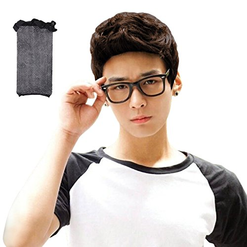 Brown men wigs,Acecharming Men Fashion Synthetic Quiff Hair Wigs For Daily Use with Cap