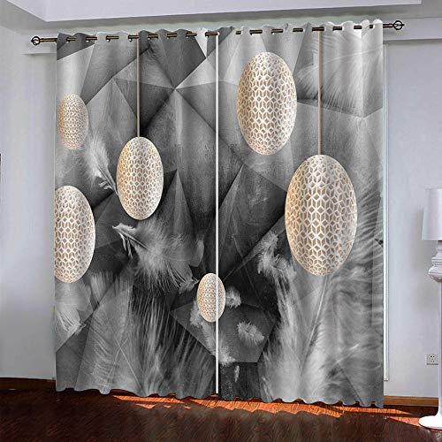 LUOWAN Dormitorio Moderno Ventana Arte Corporal de bádminton Blanco - 140x160cm Cortinas Opacas Decoracion de Ventanas Termicas Aisantes con Trabillas