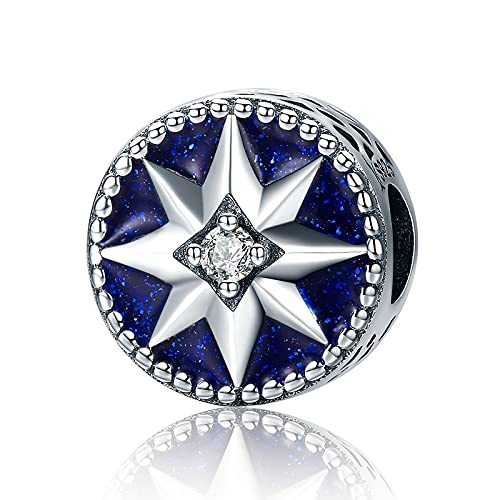 LIIHVYI Pandora Charms para Mujeres Cuentas Plata De Ley 925 Copo De Nieve Estrella Azul Deslumbrante C Compatible con Pulseras Europeos Collars