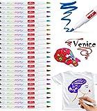 Baozun Textilstifte Textilmarker 24 Farben Waschmaschinenfest Stoffmalstifte Waschfest Permanent...