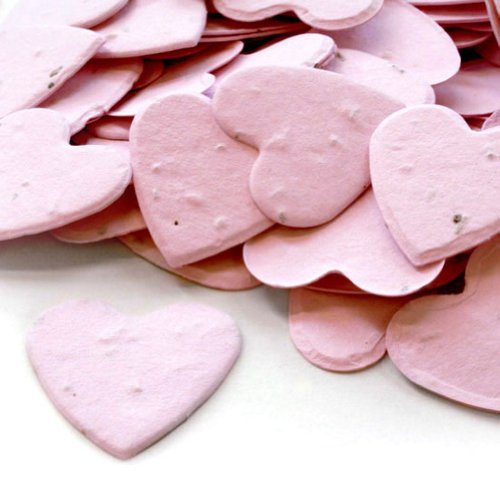 Heart Shaped Plantable Seed Confetti in Pink Value Pack (two 350 piece bags = 700 pieces of seed confetti)