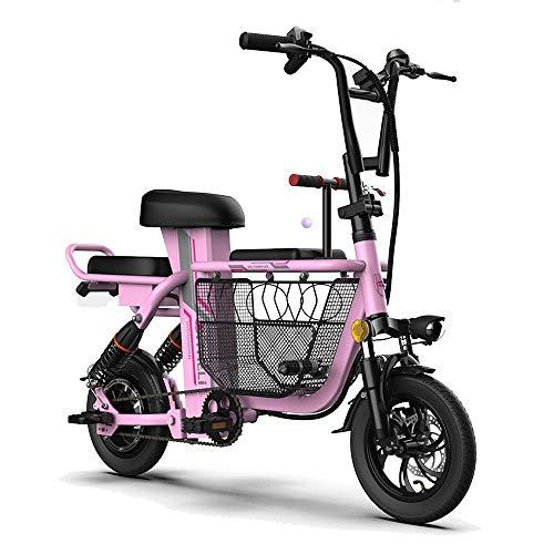 YAUUYA Bicicleta Eléctrica De 350W con Asiento para Niños para Damas, Canasta De Almacenamiento Grande, Pantalla LCD Y Neumáticos De 12 Pulgadas A Prueba De Explosiones,25 Km/H