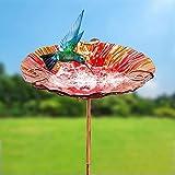 "BEBEKULA 26"" Height Glass Bird Bath Outdoor Birdbath Garden Bird Feeder with Metal Stake (Red)"
