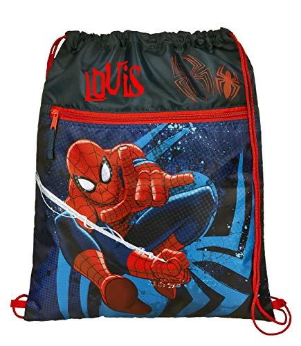 Gymtas met naam | incl. naam | motief Spiderman in blauw en rood | personaliseren & bedrukken | schoentas sporttas voor jongens kinderen