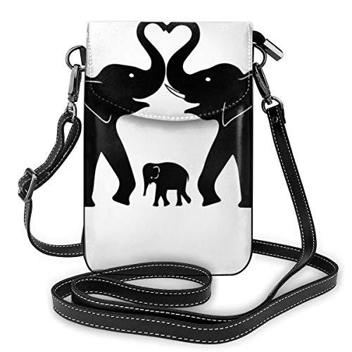 DJNGN - Bolso de piel sintética para teléfono celular, diseño de elefante viejo y elefante joven, con correa ajustable