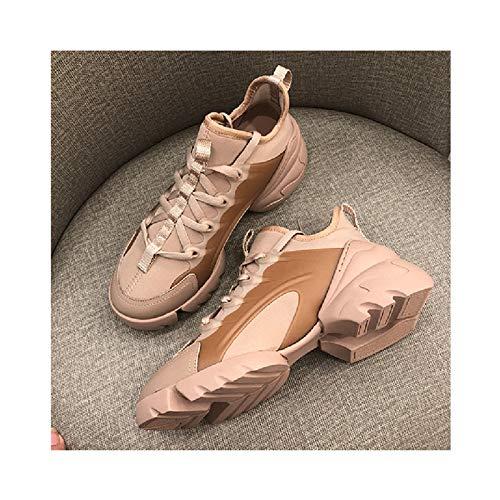 HaoLin Zapatillas de Cuña Ocultas para Mujer Zapatillas de Deporte de Plataforma Transpirables Zapatillas de Mujer para Caminar,Beige-34 EU