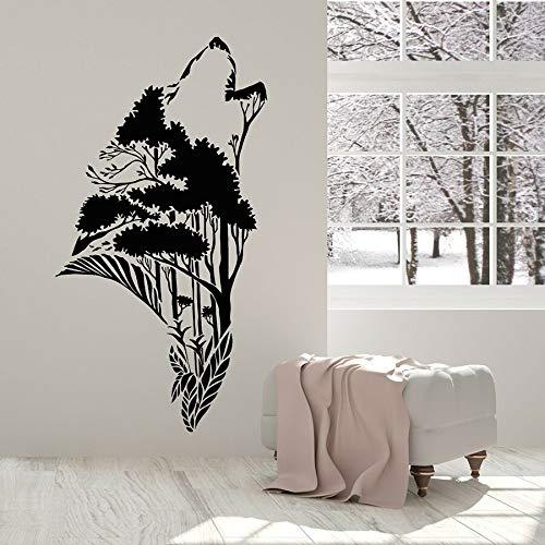 JHGJHGF Abstrakte Wandtattoo Wolfskopf Silhouette Natur Wald kreative Vinyl Fenster...