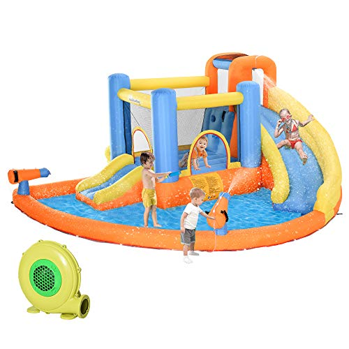 Outsunny Kids Inflatable Water Slide 5-in-1 Inflatable Bounce House Jumping Castle with Water Pool, Slide, Climbing Walls, & 2 Water Guns