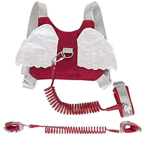 HomeChi Arnés para Caminar Bebés, 2M Seguridad Pulsera Para Infantil con edad de 1 a 8 Años Correa Antirrobo Cómodo Ajustable con Bloqueo de Seguridad y Visión Nocturna Reflexiva (Rojo)