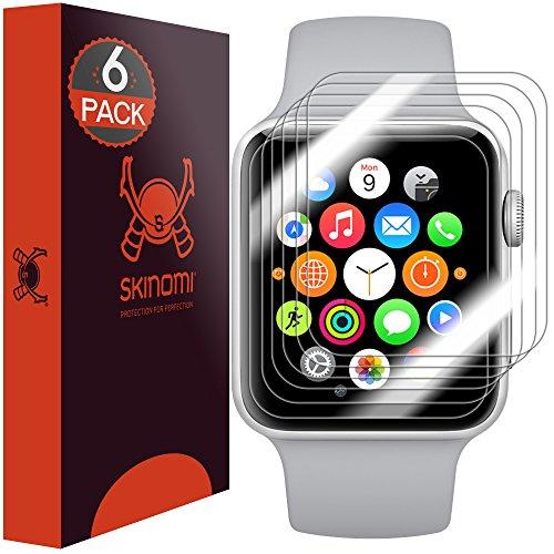 Skinomi TechSkin, Schutzfolie kompatibel mit Apple Watch (38 mm) der Serie 3,2 und 1, 6er Pack