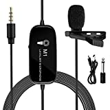 Lavalier Microphone,K&F Concept M1 3.5mm Lav Rechargeable Lapel Condenser Omnidirectional Mic with Clip-on