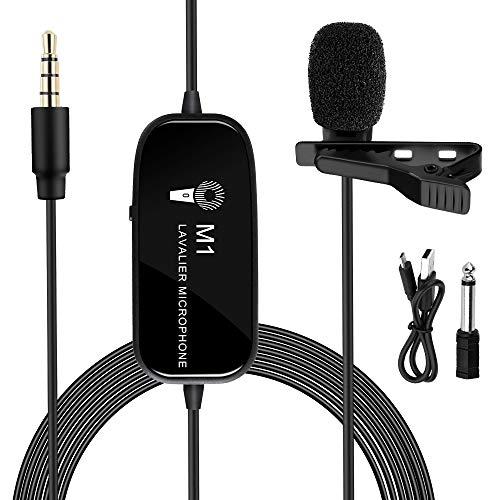 K&F Concept Micrófono de Solapa Clip-on Recargable con Conector 3,5 mm Cable 6M Batería Litio de 230 mAh para cámara DSLR, cámaravideo, Smartphone iPhone, Samsung, Ordenador