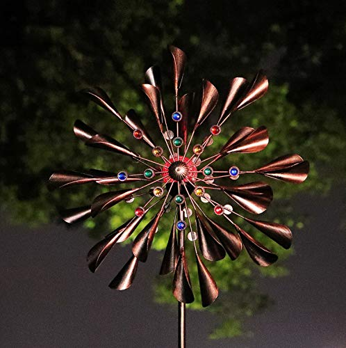 WSgift Copper 78in Large Solar Wind Spinner Multi-Color Seasonal LED Lighting Solar Powered Glass Ball with Kinetic Wind Spinner Dual Direction for Patio Lawn & Garden …