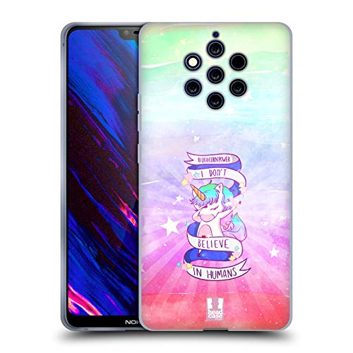 Head Case Designs Sfioriare Potere Dell'Unicorno! Cover in Morbido Gel Compatibile con Nokia 9 PureView