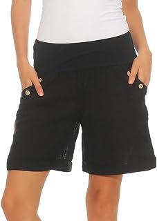 Mississhop Damen Leinenshorts Bermuda lockere Kurze Hose Freizeithose 100% Leinen Shorts Elegante Haremshose mit Knöpfen Sommer Strand