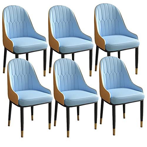 ADGEAAB Juego de 6 sillas de comedor modernas de cuero de cocina con respaldo alto, asiento suave, sillas de salón con patas de metal para oficina, salón, comedor, dormitorio (color azul y naranja)