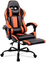 ALFORDSON Gaming Racing Chair Executive Sport Office Chair with Footrest PU Leather Armrest Headrest Home Chair in Orange ...