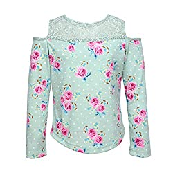 Cutecumber Girls Cotton Knit Floral Printed Green Top.