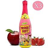 Succo di Mela e Fragola Gassato   Woogie Party Apple   3 Bottiglie 75 cl   Kids DrinK   Bevanda Analcolica per Bambini