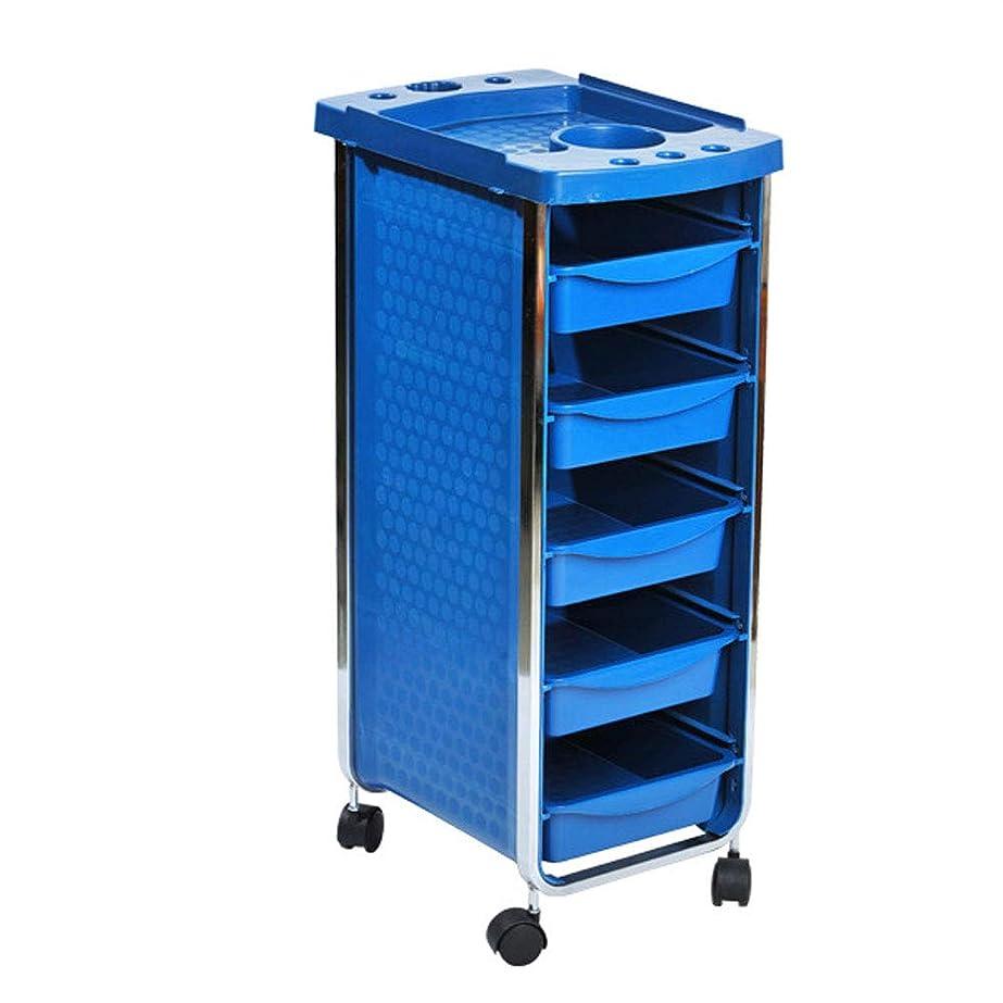 授業料掃く練るエステサロントロリーサロン多機能引き出しヘアカラーカー6層黒,Blue
