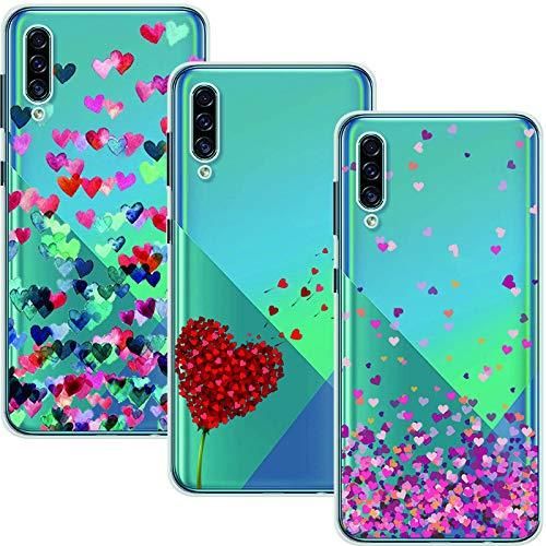 Young & Min Funda para Samsung Galaxy A30s, (3 Pack) Transparente TPU Silicona Carcasa Delgado Antigolpes Resistente, Amor