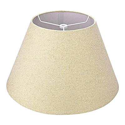 Medium Lamp Shade, Alucset Barrel Fabric Lampshade for Table Lamp and Floor Light,7x13x7.8 inch, Natural Linen Hand Crafted, Spider (Pale-Yellow with Golden flecks Linen Fabric)