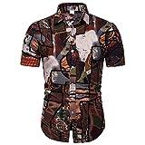 Xmiral Camicia Hawaiana della Camicia di Stampa Casuale della Manica Corta Etnica dell'uomo (5XL,3- Marrone)