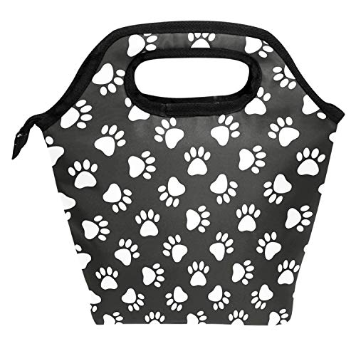 Lunch Tote Bag Dog Puppy Pet Paw In Black Background Insulated Cooler Thermal Reusable Bag, Funny Paw Dog Lover Decor Lunch Box Portable Handbag for Men Women Kids Boys Girls