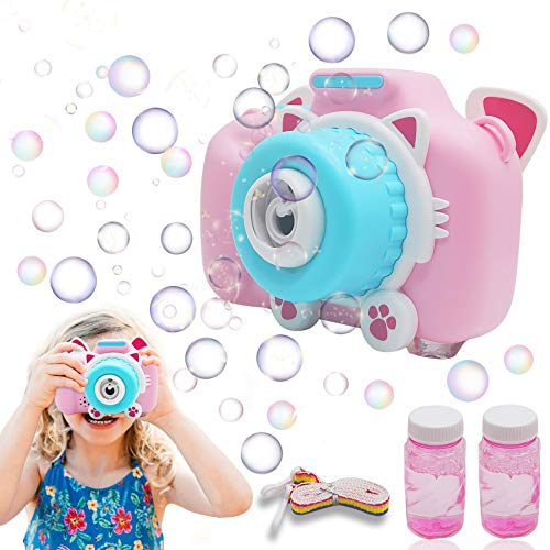 PALA PERRA Bubble Machine, Bubble Camera for Kids Outdoor Bubble Toy with Light/Music, Bubble Blower Maker Toys, Best Gift for Boys Girls 5,6,7,8,9,10 Years (Pink)