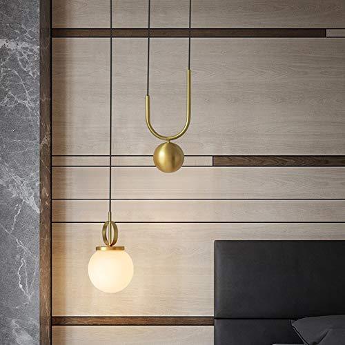 CHENJUNAMZ Techo LED Bola de Cristal de la lámpara Caliente Amarillo Claro Minimalismo lámpara de Hierro Comedor Sala de Estudio Dormitorio