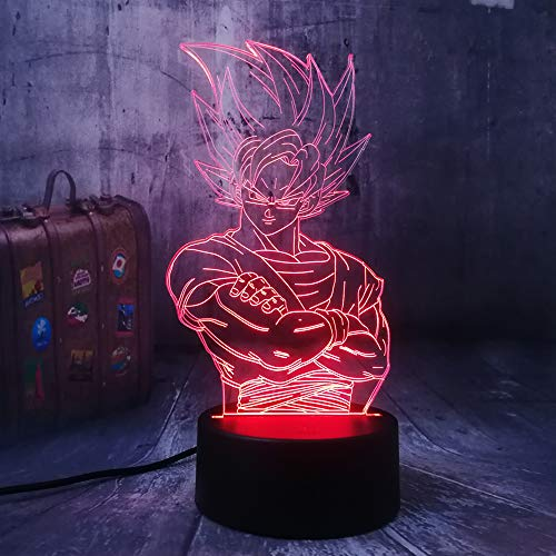 Coole Saiyajin Son Goku Dragon Ball Z Kakarot Vegeta 3D LED Illusion Nachtlicht 7 Farbwechsel Anime Actionfiguren Tischparty Lampe Wohnkultur Kinder Jungen Spielzeug