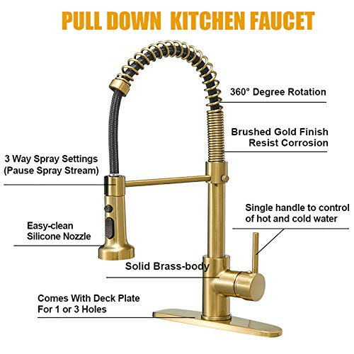 BESy Commercial Kitchen Faucet with Pull Down Sprayer, High-Arc Single Handle Single Lever Spring Rv Kitchen Sink Faucet with Pull Out Sprayer, 3 Function Laundry Faucet, Brushed Gold