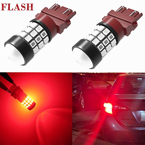 Alla Lighting 3156 3157 LED Strobe Brake Lights Bulbs Super Bright T25 3056 3057 3457 4157 4057 3157 Flashing Lights Replacement for Cars Trucks Motorcycles, Brilliant Pure Red (Set of 2)