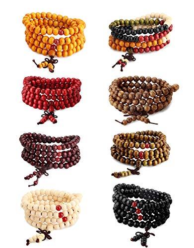 Milacolato Wood Bracelet 108 Mala Bead Bracelets Buddhist Strand Wood Prayer Beads Sandalwood Link Wrist Necklace Chain for Men Women Chinese Knot 8pcs