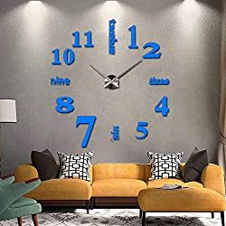 HOODDEAL DIY 3D Frameless Mirror Stickers Large Silent Wall Clock Modern Design Home Office School Number Clock Decorations for Living Room Kitchen Bedroom (Blue+Silver)