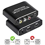 HDMI to RCA Converter, 1080P HDMI to AV 3RCA CVBs Composite Video 3.5mm Aux Audio Adapter Supports PAL/NTSC for TV Stick, PS3, PC, Laptop, Xbox, HDTV, DVD (Black,Aluminum Alloy Material)