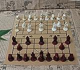 N\C Ajedrez Chino Tridimensional Retro, Tablero de ajedrez de Cuero PU, Guerreros y Caballos de Terracota de Resina, Figuras de ajedrez Chino, Piezas de ajedrez, Regalos para Padres e Hijos