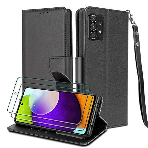 WuGlrz Handyhülle für Samsung Galaxy A52 4G 5G und A52S 5G mit 2 Stück Panzerglas Schutzfolie, Luxus PU Leder Brieftasche Hülle mit Clip Lanyard Magnetisch Flip Schutzhülle - Schwarz
