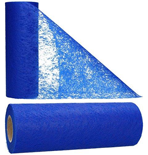 AmaCasa Vlies Tischläufer Blau 23cm/20 Meter Flower Vlies Tischband Hochzeit Kommunion