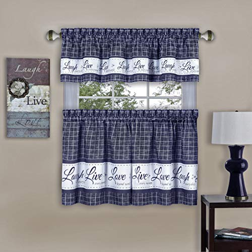 """PowerSellerUSA Country Gingham Check Live Laugh Love 3-Piece Cafe Plaid Kitchen Curtain Set, Assorted Colors - 58"""" (W) x 36"""" (L), Navy"""