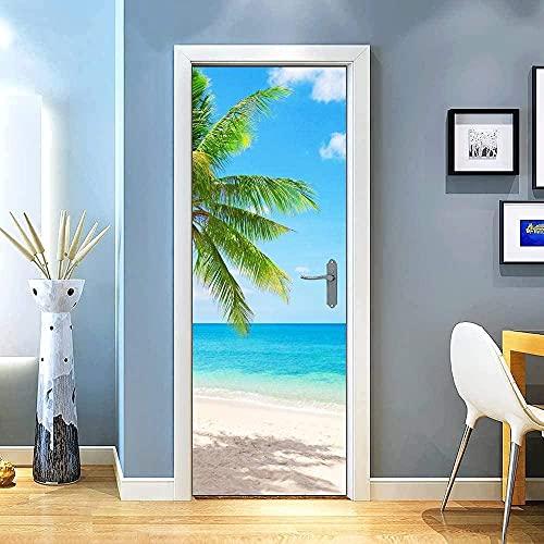 SONYUN Papel Pintado Puerta 77x200cm Árboles del mar Cielo Azul para Puertas Papel Pintado Puertas Autoadhesivo, Impermeable Papel Pintado Puerta Mural Puertas Pegatinas 3D Decoración