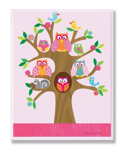 The Kids Room By Stupell Rectangle Wall Decor, Owls And Birds On Branches Kids Room Decor And Wall Art