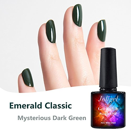 joligel Stamping-LED UV-Gel semipermanenten Nagellack 10 ml, Smaragd klassisch elegante Winter, in Nagelfeile Maniküre Pediküre Nail Design, Harz ohne Geruch, Soak Off, dunkelgrün