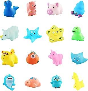 16 Pcs Baby bath Toys for Kids Soft Squirt Bathing Tub Toy Bathtub & Swimming Pool Toys Gift Set with Net Bag Floating Sou...