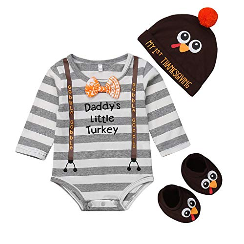 Baby Boy Girl Thanksgiving Outfit Long Sleeve Letter Romper + Hat + Turkey Crib Shoes 3pcs Clothes Set (6-9 Months, Stripe)